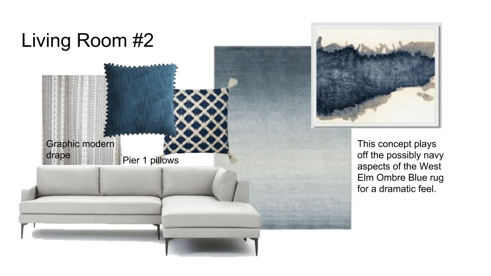 Dramatic navy living room modern sectional