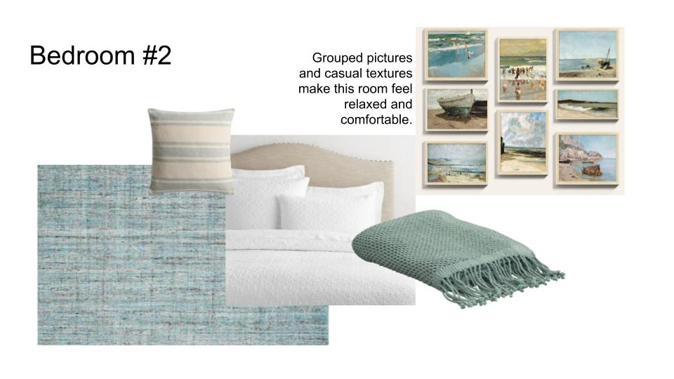 Relaxed Coastal Bedroom teal with neutral upholstered bed